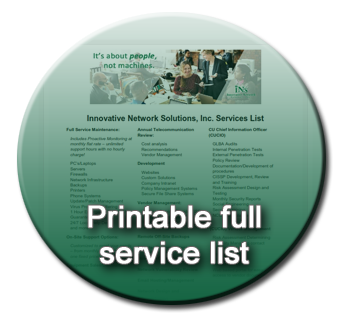 Image of the full service list that can be downloaded as a PDF.